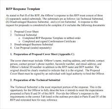 Submittal Cover Sheet Template 28 Rfp Response Template Sle Rfp Response Template 8 Free