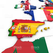 Portugal Spain Map by 3d Map Of Spain And Portugal With National Flags On White
