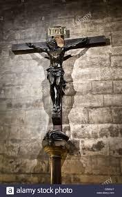 jesus on the cross inside notre dame de paris cathedral paris