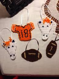 denver bronco crochet ornaments these are going on my bronco tree