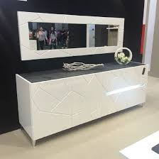 venice sideboard with wall mirror in white gloss with