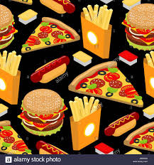 fast food pattern hamburger and fries on black background