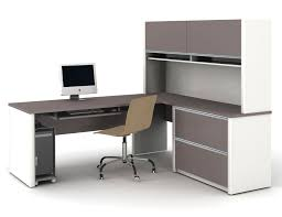 White Wood Computer Desk Cream Swivel Chair Combination With L Shaped White And Grey Solid