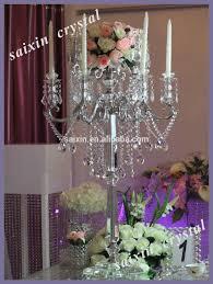 crystal candelabra wedding centerpiece and flower stand view
