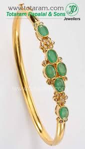 emerald diamond gold bracelet images Emerald bracelet with uncut diamonds in 22k gold bangle bracelet jpg