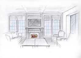 sketch your house interior in black and white or color for 5