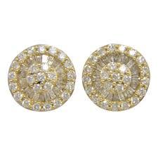 yellow gold earrings pave diamond stud earrings 18k yellow gold