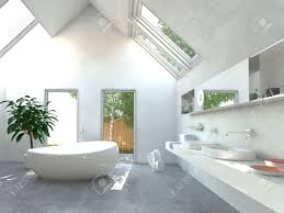 modern light bright bathroom interior with a double wall mounted