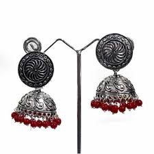 earrings online shopping silver plated jhumkas oxidized earrings online shopping hayagi