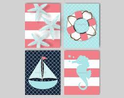 starfish sailboat seahorse nautical nursery art nautical