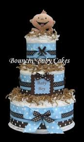 modern baby boy blue and brown baby shower diaper cake