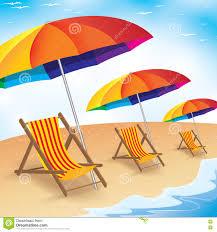 Clip On Umbrellas For Beach Chairs Summer Beach Holiday Seashore With Beach Umbrella And Chair