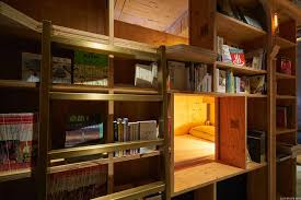 the japanese book and bed hostel is tucked away in a bookstore