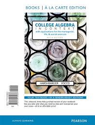harshbarger u0026 yocco college algebra in context with applications