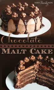 chocolate malt cake with chocolate malt icing favorite family