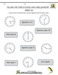 Images Of Math Worksheets Time Worksheet O U0027clock Quarter And Half Past