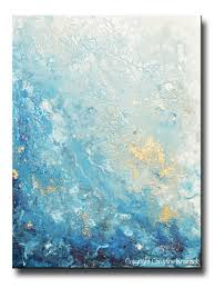 original art modern blue abstract painting navy white grey gold