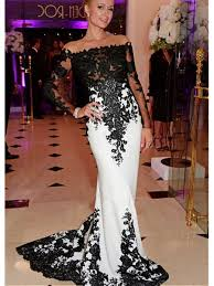 affordable dresses sleeves lace black white mermaid prom formal evening dresses