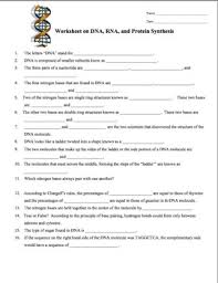 Dna Rna And Protein Synthesis Worksheet Dna Rna Protein Synthesis Worksheet Study Guide Dna
