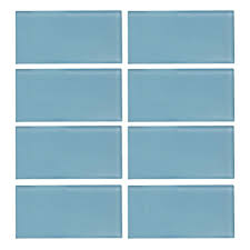 Blue Glass Kitchen Backsplash Glass Tile Tile The Home Depot