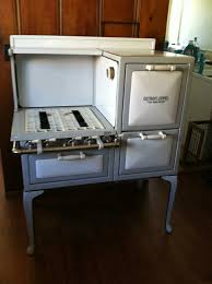 crawford insulated retro gas antique cook stove in gray u0026 white