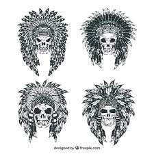 sketches of indian skulls pack vector free download