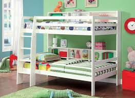 white twin over twin bunk bed with shelf