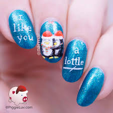 piggieluv penguins under mistletoe nail art for christmas