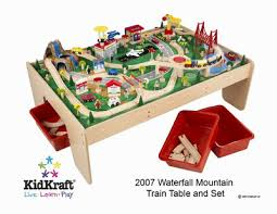 table top train set kidkraft waterfall mountain train set and table