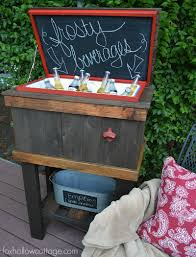 Outdoor Patio Cooler Cart by How To Build A Wood Deck Cooler Fox Hollow Cottage