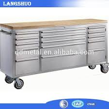 Tool Cabinet Wood Stainless Steel 72 Inch Wooden Top Tool Box Stainless Steel 72