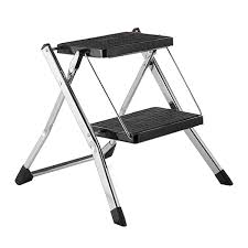 polder chrome slim folding step stool the container store