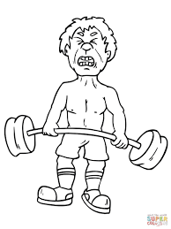apple cartoon character lifting weights coloring page free