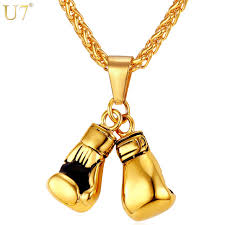 necklace aliexpress images U7 men necklace gold color stainless steel chain pair boxing glove jpg