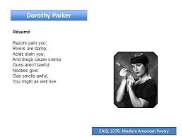 Resume Dorothy Parker Engl 3370 Modern American Poetry New Criticism Engl 3370 Modern