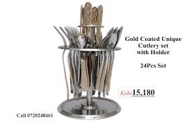 unique cutlery gold coated unique cutlery set with holder gif