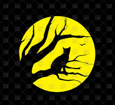 silhouette of cat on moon background royalty free vector clip