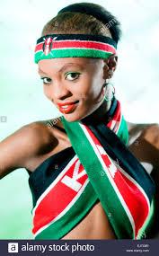 Images Kenya Flag Young Kenyan Woman In National Flag Colorrs Stock Photo Royalty