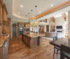 open floor plan stair living room contemporary with wood floor