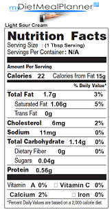 light sour cream nutrition nutrition facts label cheese milk dairy 15 mydietmealplanner com