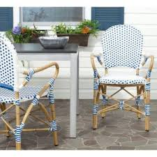 White Patio Dining Set by Zuo Paris Patio Dining Chair In Navy Blue And White Pack Of 2