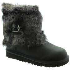 womens ugg boots ellee ugg ellee leather fur ankle boots in black in black