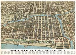 Chicago Transit Map by 1898 Bird U0027s Eye View Of Chicago U2013 Transit Maps Store
