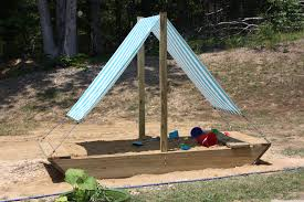 outdoor sandboxes with shade and toybox for kids playground ideas