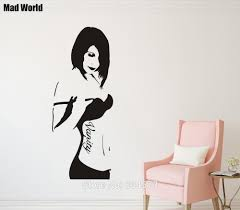 banksy home decor mad world banksy vanity lady woman silhouette wall art stickers