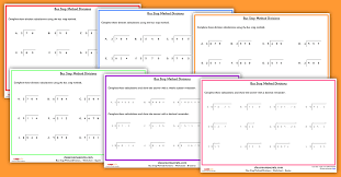 ks2 written method bus stop method division worksheets classroom