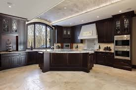 Dark Walnut Kitchen Cabinets by Green Tile Ceramic Backsplash Antique White Kitchen Cabinets Dark