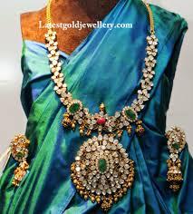 pachi work earrings stunning pachi work polki diamond haram gold jewellery