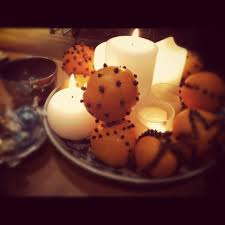 furniture coffee table christmas decoration with fruit orange and