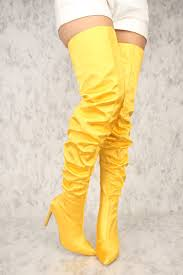 yellow boots s shoes yellow pointy toe slouchy thigh high boots
